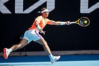 16th February 2021, Melbourne, Victoria, Australia; Rafael Nadal of Spain returns the ball during round 4 of the 2021 Australian Open on February 15 2021, at Melbourne Park in Melbourne, Australia.