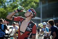 hot race = immediate hydrating after the finish for Marcus Burghardt (DEU/BMC)<br /> <br /> stage 16: Morain-en-Montagne to Bern (SUI) / 209km<br /> 103rd Tour de France 2016