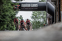 Team Lotto Soudal setting the pace for the peloton during the first local lap. <br /> <br /> 11th Heistse Pijl 2018<br /> Turnhout > Heist-op-den Berg 194km (BEL)