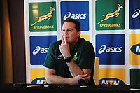 Rassie Erasmus Head Coach of South Africa during the South Africa Press Conference at The Hilton Hotel in Cardiff, Wales, UK. Monday 19 November, 2018