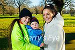 Roisin, Saoirse and Fíonn Coffey enjoying a stroll in the Tralee town park on Saturday.