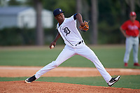 Detroit Tigers pitcher Angel De Jesus (22) during an Instructional League game against the Philadelphia Phillies on September 19, 2019 at Tigertown in Lakeland, Florida.  (Mike Janes/Four Seam Images)