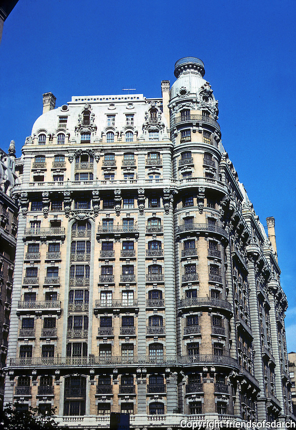 """New York City: The Ansonia Hotel, Upper Broadway, 1899-1904. Architect Paul E.M. Duboy. Luxurious. First air-conditioned hotel. """"Farm on the roof"""". Beaux Arts style. Many celebrated residents. National Register of Historic Places 1980. Photo '78."""