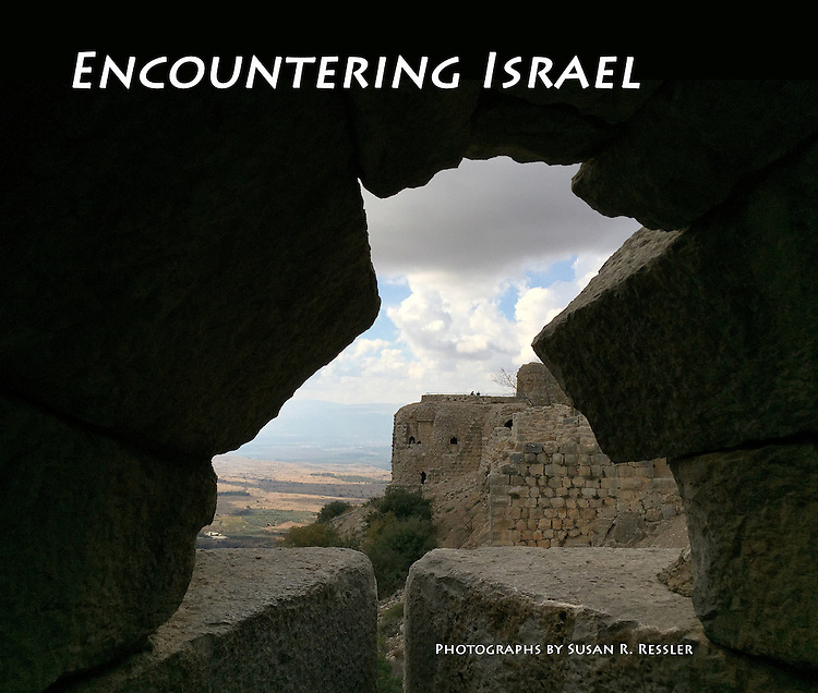 """1. """"Encountering Israel"""": portfolio and proposed book cover. Made at Nimrod Fortress, the largest Crusader-era fortification in Israel, Golan Heights. <br /> <br /> Built during the Middle Ages, high above the Hermon Valley to protect the road linking the Galilee to Damascus, its control changed hands during the 12th - 13th centuries from the Crusaders to the Muslims, who carved impressive Arabic inscriptions into its massive stones.<br />  <br /> When I made this image, I was looking through an embrasure, an opening designed for defense: to watch for enemies, launch crossbows, and hurl stones. As I looked from the darkness toward the light, I thought mightily about Israel's ongoing conflicts. I would soon plant the """"Tree of Life"""" to honor my recently deceased parents, but on my first day in Israel, I was brooding about ancient battles and what the future might bring."""