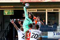 4th May 2021; Kenilworth Road, Luton, Bedfordshire, England; English Football League Championship Football, Luton Town versus Rotherham United; Jamal Blackman of Rotherham United attempts to punch the ball from a cross