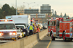 Highway traffic accident with ambulance and fire truck