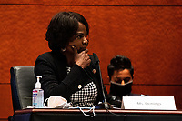 """United States Representative Val Demings (Democrat of Florida) speaks during a US House Judiciary committee hearing on """"Oversight of the Department of Justice: Political Interference and Threats to Prosecutorial Independence"""" on Capitol Hill in Washington DC on June 24th, 2020.<br /> Credit: Anna Moneymaker / Pool via CNP/AdMedia"""