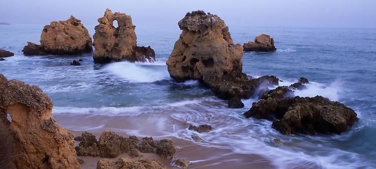 Europe, PRT, Portugal, Algarve, Albufeira, Typical Rocky Coast, Dusk, Rocks, Waves