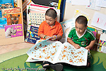Education Preschool 3-5 year olds two boys sitting side by side looking at picture books horizontal