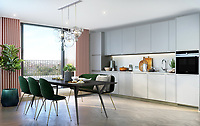 BNPS.co.uk (01202) 558833. <br /> Pic: Savills/BNPS<br />  <br /> Pictured: Hornsey Town Hall Kitchen. <br /> <br /> Apartments in the grounds of an iconic 1930s building where Queen first appeared in concert and the TV series Whitechapel was filmed, have gone on sale.<br /> <br /> The new owners will live alongside Hornsey Town Hall, which has appeared in a string of movies and TV series including The Crown and Killing Eve.<br /> <br /> Rock band Queen performed their first concert there in 1971 as a supporting band and part of the 2018 film Bohemian Rhapsody starring Rami Malek was made there.<br /> <br /> The flats, which start from £505,000, are part of the development of the iconic modernist building in Crouch End, North London.