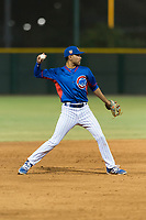 AZL Cubs 2 shortstop Miguel Pabon (13) throws to first base during an Arizona League game against the AZL Indians 2 at Sloan Park on August 2, 2018 in Mesa, Arizona. The AZL Indians 2 defeated the AZL Cubs 2 by a score of 9-8. (Zachary Lucy/Four Seam Images)