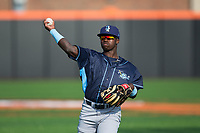 D.J. Burt (3) of the Wilmington Blue Rocks warms up in the outfield prior to the game against the Buies Creek Astros at Jim Perry Stadium on April 29, 2017 in Buies Creek, North Carolina.  The Astros defeated the Blue Rocks 3-0.  (Brian Westerholt/Four Seam Images)