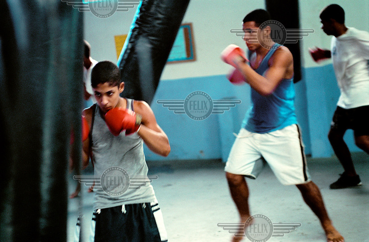 Boxing club set up inside Complexo do Mare, one of the most dangerous favelas in Rio, to help keep children off the streets.