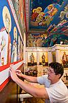 Miloje Milinkovic iconographer assistant Slobodan Kikovich painting the borders inside St. Sava Serbian Orthodox Church, Jackson, Calif.