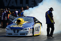 Jun. 15, 2012; Bristol, TN, USA: NHRA pro stock driver Rodger Brogdon during qualifying for the Thunder Valley Nationals at Bristol Dragway. Mandatory Credit: Mark J. Rebilas-