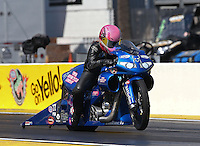 Mar. 15, 2013; Gainesville, FL, USA; NHRA pro stock motorcycle rider Angie Smith during qualifying for the Gatornationals at Auto-Plus Raceway at Gainesville. Mandatory Credit: Mark J. Rebilas-