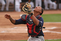 Cedar Rapids Kernels catcher Jorge Fernandez (32) catches a pop-up during a game against the Wisconsin Timber Rattlers on May 4th, 2015 at Fox Cities Stadium in Appleton, Wisconsin.  Cedar Rapids defeated Wisconsin 9-3.  (Brad Krause/Four Seam Images)