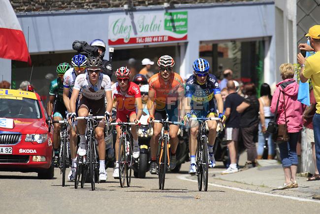 The breakaway group consisting of Maxime Bouet (FRA) AG2R La Mondiale, Nicolas Edet (FRA) Cofidis, Pablo Urtasun Perez (ESP) Euskaltel-Eskadi, Michael Morkov (DEN) Saxo Bank-Tinkoff Bank, Anthony Delaplace (FRA) Saur-Sojasun and Yohann Gene (FRA) Team Europcar climbs the Cote De Lierneux during Stage 1 of the 99th edition of the Tour de France, running 198km from Liege to Seraing, Belgium. 1st July 2012.<br /> (Photo by Eoin Clarke/NEWSFILE)