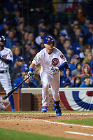 Chicago Cubs Albert Almora Jr. (5) bats in the seventh inning during Game 4 of the Major League Baseball World Series against the Cleveland Indians on October 29, 2016 at Wrigley Field in Chicago, Illinois.  (Mike Janes/Four Seam Images)