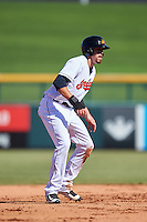 Mesa Solar Sox Bradley Zimmer (7), of the Cleveland Indians organization, during a game against the Scottsdale Scorpions on October 21, 2016 at Sloan Park in Mesa, Arizona.  Mesa defeated Scottsdale 4-3.  (Mike Janes/Four Seam Images)