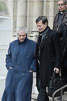 Francis Huster - Claude Lelouch - Obseques de Michele Morgan - Service religieux en l'Èglise Saint-Pierre de Neuilly-sur-Seine le 23 decembre 2016