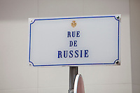 Street sign to Rue de Russie, Nice, France, 28 April 2012