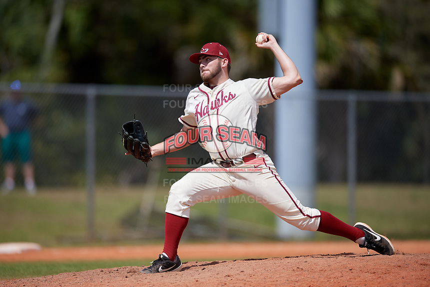 Saint Joseph's Hawks relief pitcher Luke Zimmerman (15) during a game against the Ball State Cardinals on March 9, 2019 at North Charlotte Regional Park in Port Charlotte, Florida.  Ball State defeated Saint Joseph's 7-5.  (Mike Janes/Four Seam Images)