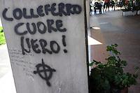 Colleferro.Scritte neo-fasciste sui muri.