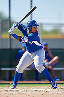 Kansas City Royals Xavier Fernandez (14) during an Instructional League game against the Texas Rangers on October 4, 2016 at the Surprise Stadium Complex in Surprise, Arizona.  (Mike Janes/Four Seam Images)