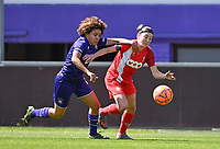 Kassandra Missipo (12) of Anderlecht pictured in a duel with Noemie Gelders (10) of Standard  during a female soccer game between RSC Anderlecht Dames and Standard Femina De Liege on the third matchday of play off 1 of the 2020 - 2021 season of Belgian Womens Super League , saturday 24 th of April 2021  in Brussels , Belgium . PHOTO SPORTPIX.BE | SPP | DAVID CATRY