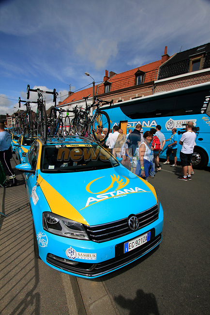 Astana Pro Team before the start of Stage 3 of the 99th edition of the Tour de France 2012, running 197km from Orchies to Boulogne-sur-Mere, France. 3rd July 2012.<br /> (Photo by Eoin Clarke/NEWSFILE)
