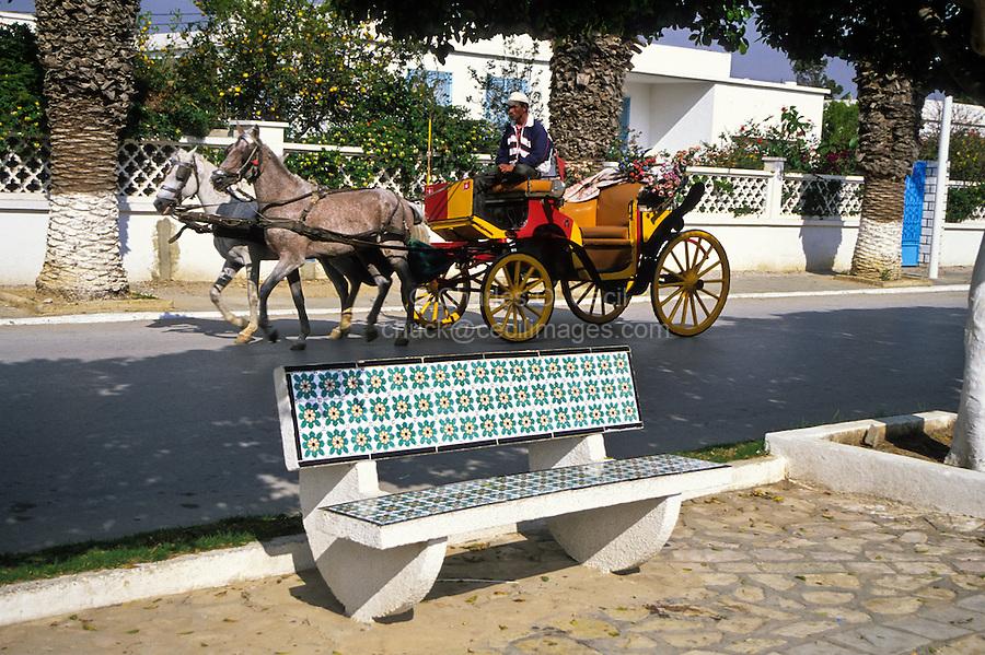 Ceramics, Nabeul, Tunisia.  Tiles Decorate Public Benches.  Horse and Carriage.