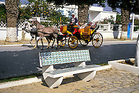Ceramics, Nabeul, Tunisia.  Tiles Decorate Public Benches.  Horse and Carriage.
