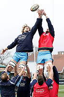 Theo Vukasinovic of London Scottish warms up during the Greene King IPA Championship match between Ealing Trailfinders and London Scottish Football Club at Castle Bar , West Ealing , England  on 19 January 2019. Photo by Carlton Myrie/PRiME Media Images