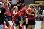 GER - Luebeck, Germany, February 06: During the 1. Bundesliga Damen indoor hockey semi final match at the Final 4 between Berliner HC (blue) and Duesseldorfer HC (red) on February 6, 2016 at Hansehalle Luebeck in Luebeck, Germany. Final score 1-3 (HT 0-1). (Photo by Dirk Markgraf / www.265-images.com) *** Local caption *** Sabine Markert #6 of Duesseldorfer HC, Tessa-Margot Schubert #28 of Duesseldorfer HC, Darja Moellenberg #11 of Duesseldorfer HC celebrates after scoring, Carolin Wolf #10 of Duesseldorfer HC