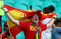 A Spain fan cheers his side on