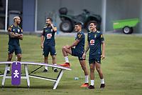 10th November 2020; Granja Comary, Teresopolis, Rio de Janeiro, Brazil; Qatar 2022 qualifiers; Bruno Guimaraes and Pedro of Brazil during training session in Granja Comary