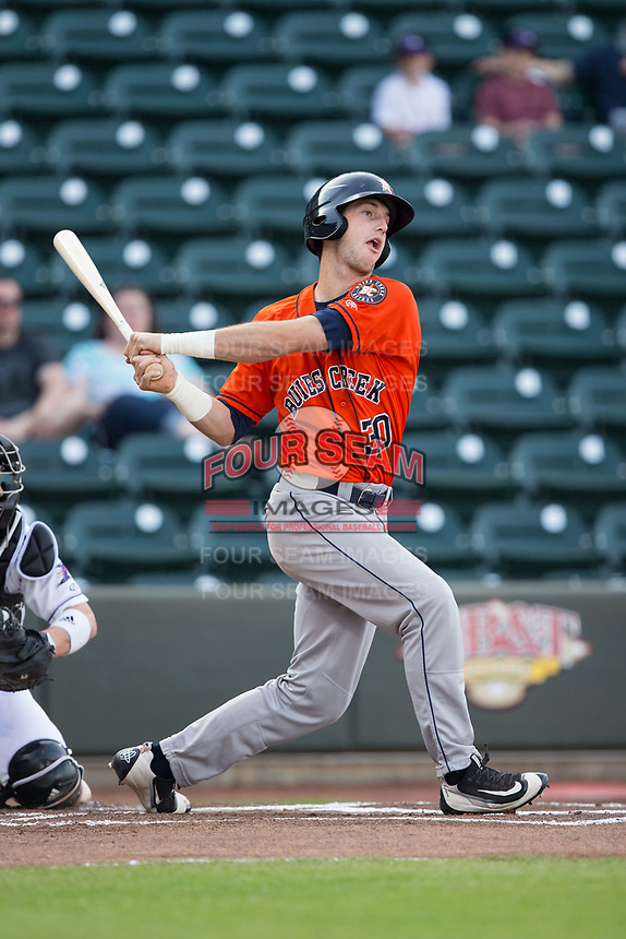 Kyle Tucker (30) of the Buies Creek Astros follows through on his swing against the Winston-Salem Dash at BB&T Ballpark on April 15, 2017 in Winston-Salem, North Carolina.  The Astros defeated the Dash 13-6.  (Brian Westerholt/Four Seam Images)
