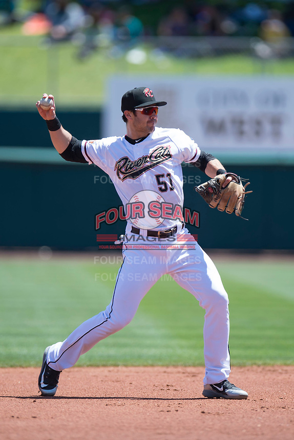 Sacramento RiverCats second baseman Chase D'Arnaud (51) during a Pacific Coast League against the Tacoma Rainiers at Raley Field on May 15, 2018 in Sacramento, California. Tacoma defeated Sacramento 8-5. (Zachary Lucy/Four Seam Images)