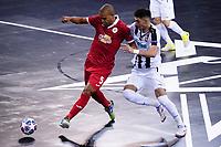 9th October 2020; Palau Blaugrana, Barcelona, Catalonia, Spain; UEFA Futsal Champions League Finals; Mrucia FS versus MFK Tyumen; Leo Santana holds off a challenge for the ball