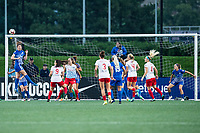 Boston, MA - Friday July 07, 2017: Morgan Andrews clears a corner kick during a regular season National Women's Soccer League (NWSL) match between the Boston Breakers and the Chicago Red Stars at Jordan Field.