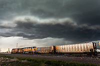 Severe thunderstorm above a traveling locomotive in Wyoming, May 20, 2014