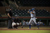 AZL Royals second baseman Kember Nacero (2) at bat in front of home plate umpire Kevin Levine and catcher Angel Guzman (16) during an Arizona League game against the AZL Giants Black at Scottsdale Stadium on August 7, 2018 in Scottsdale, Arizona. The AZL Giants Black defeated the AZL Royals by a score of 2-1. (Zachary Lucy/Four Seam Images)