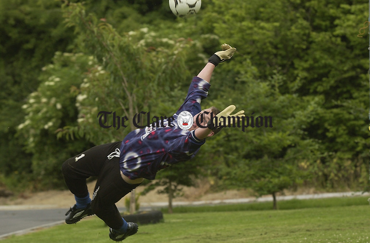 Alan Brooks  practices his goal stopping at home in Fountain. Photograph by John Kelly.
