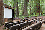 Outdoor theater in the  Redwoods, Redwood National Park, Prarie Creek Redwoods State Park, California, USA  Theater in campground used for presentations.   Redwood National and Redwood State Parks include numerous camp grounds, rivers, hiking, fishing, camping, photography, birding, biking and other outdoor adventures. Represented by www.spacesimages.com