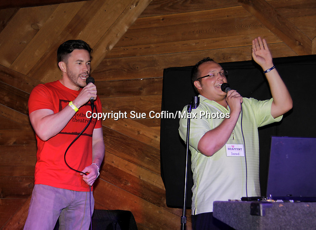 Tom Pelphrey and Jared sing at 15th Southwest Florida Soapfest 2014 Charity Weekend with a Bartending/Karaoke get together on May 26, 2104 at Porky's, Marco Island, Florida. (Photo by Sue Coflin/Max Photos)