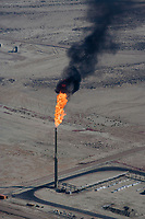 aerial photograph of natural gas flare burning in southern Wyoming