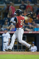 Nick Noonan (21) of the Scranton/Wilkes-Barre RailRiders follows through on his swing against the Durham Bulls at Durham Bulls Athletic Park on May 15, 2015 in Durham, North Carolina.  The RailRiders defeated the Bulls 8-4 in 11 innings.  (Brian Westerholt/Four Seam Images)