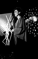 May 6, 1985 - File Photo - Michel Jasmin (L) receive French singer Michel Sardoux (M) and Quebec singer Fabienne Thibault (R) at his show VARIETE MICHEL JASMINFabienne Thibeault  a VMJ, Mai 1985<br /> <br />  - PHOTO D'ARCHIVE :  Agence Quebec Presse