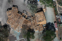 aerial photograph wood residential framing construction, Sonoma County, California